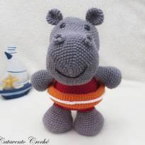 Hipopótamo Salva-vidas  Amigurumi -  - Feito à mão