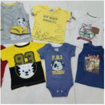 Kit 6 blusas + 1 body de marcas variadas - 6 a 9 meses - Tigor T.  Tigre e Tigor Baby