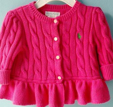 f472a7651f2e5 Casaco Cardigan Ralph Lauren rosa pink 3 meses no Ficou Pequeno ...