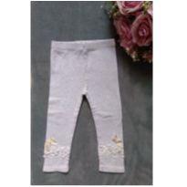 Calça cinza detalhe florzinhas com renda Tam.3 - 3 anos - Mily