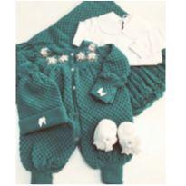 Saída de maternidade tricô verde - 0 a 3 meses - Sem marca