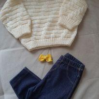 Conjunto calça/blusa/laço 6 a 9 meses - 6 a 9 meses - PUC