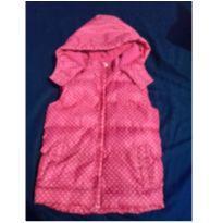 Colete com capuz feminino pink com poás branco - 3 anos - Outros