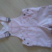 Jardineira Fem. Curta Importada Rosa Bebê - 9 a 12 meses - H&M