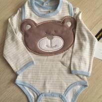Body Listrado+Babador Urso  Importado - 3 a 6 meses - Boulevard Baby