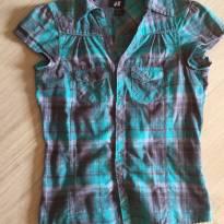 Camisa Manga Curta Xadrez Importada - 12 anos - H&M
