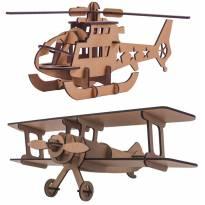 Quebra-cabeça MDF 3D Helicóptero E Avião Pasiani -  - Não informada