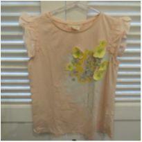 Blusa importada rosa clara com detalhes de flores - ZARA - 13 anos - Zara