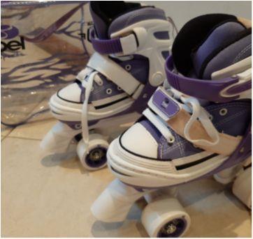 Patis branco e lilás Semi Novo. Marca Bel Sports style street rollers. - Sem faixa etaria - Bel Sports