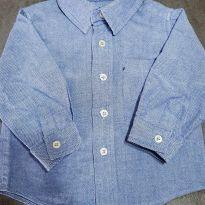 Camisa social azul - 6 a 9 meses - Não informada
