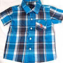 Camisa azul manga curta - 18 meses - Polo Uspa