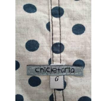 Jardineira jeans de lacinho e bolinha (FRETE GRATIS - SP) - 6 a 9 meses - Chicletaria