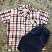 Conjunto camisa e bermudinha jeans - 9 a 12 meses - Boca Grande