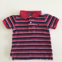 Camisa Polo Ralph Lauren vermelha listrada 9M - 9 a 12 meses - Ralph Lauren