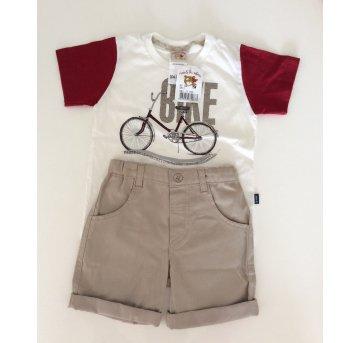 Conjuntinho Bermuda Caqui e Camiseta Bicicleta - 3 anos - Nini e Bambini