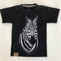 Camiseta Preta zebra - 4 anos - Não informada