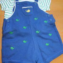 Macacão Curto Jardineira Baleia - 3 meses - Little Me