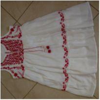 Lindo vestido fresquinho branco com bordado pink 12 anos - 10 anos - Fuzarka