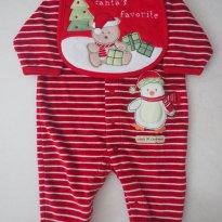 Body Natal em Plush com Babador Cartes - 3 meses - Carter`s
