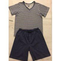Pijama Sonhart camiseta Lustradinha e shot liso azul - 6 anos - Sonhart