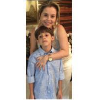 Camisa Social Azul com estampa floral - 6 anos - VR Kids
