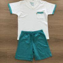 Pijama VRKIDS Branco com Azul Turquesa - 6 anos - VR Kids