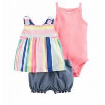 Kit Feminino Carters 3 Peças - Short, Bata E Body - 1 ano - Carter`s e carter`s, baby gap, zara