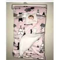 Manta Para Bebê Flanelada Luxo Urso Rosa -  - Blanckets & Beyond