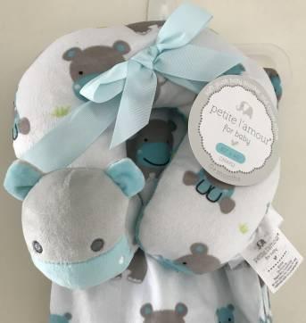 Cobertor De Bebê Dupla Face Com Apoio De Pescoço Hipopo - Sem faixa etaria - Importado