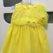Vestido + Faixa de Cabelo Paraíso Amarelo 0-6 Meses - Tam M - 3 a 6 meses - Paraíso