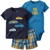 Conjunto 03 Pçs Carters Carros (6-9 meses) - 6 a 9 meses - Carter`s