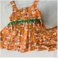 Lindo vestido de lhamas laranja + acompanha calcinha de brinde - 3 a 6 meses - Outros