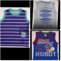 Kit com 3 Camisetas Regatas Carinhoso - 2 anos - Carinhoso e Ralakids