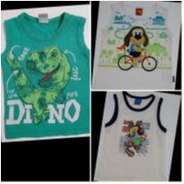 Kit com 3 Camisetas Regatas Dino e Cachorrinho - 2 anos - Kyly e KAMYLUS