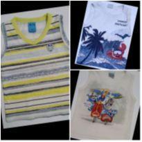 Kit com 3 Camisetas Regatas Bichinhos Travessos - 2 anos - bito