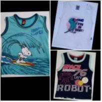 Kit com 3 Regatas Snoopy, Papagaio e Robozinho - 1 ano - Snoopy e Malwee Kids