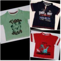 Kit com 3 Camisetas Dino, Tigre de capacete e Surf. - 1 ano - Poim e Tigor Baby