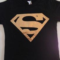 Camiseta Preta Super-man Dourado - lindaaaaa - 12 a 18 meses - Maj Confecções