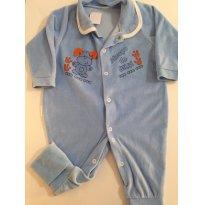 Macacão em Plush, azul Céu, Cachorrinho - 3 a 6 meses - etiqueta foi cortada