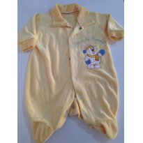Macacão em Plush, Amarelinho, lindo! - 0 a 3 meses - etiqueta foi cortada