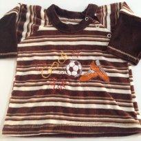 Blusa em Plush listrada em Marrom, muito fofa! - 3 a 6 meses - etiqueta foi cortada