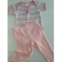 Conjuntinho de Body MC e Calça - lilás e rosa bebê - 0 a 3 meses - Best Club e Guess