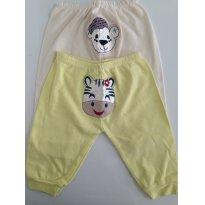 Kit c/2 calças em moletinho, com bichinhos aplicados no Bumbum - 3 a 6 meses - Sof & Enz KIDS