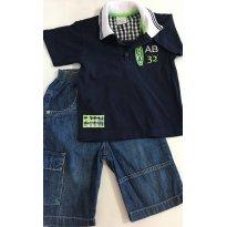 Conjunto de Bermudão Jeans + Camisa Polo Marinho - 2 anos - Anjos baby e Mini & Ninha Mini & Ninho