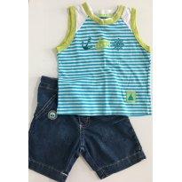 Conjunto de Regata e Bermuda Jeans - 12 a 18 meses - Tip Top e Malwee