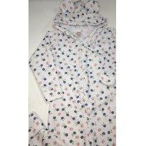 Macacão Pijama em Fleece/Soft com Capuz com Orelhinha - Florzinhas - 1 ano - ratelzinho Baby