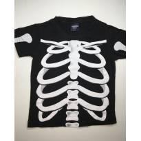 Camiseta Esqueleto Preta - 2 anos - marisa