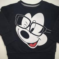 Blusa Moletom Preta, Mickey - 1 ano - Disney
