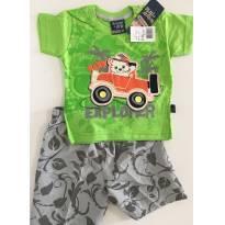 Conjunto de Primavera/Verão - Camuflado Baby - Tamanho M - 6 a 9 meses - brincar é arte