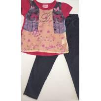 Conjunto de Camisa em Viscose/Algodão e Calça Leg Jeans - 2 anos - Duduka e Bella baby